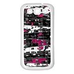 Magenta, white and gray decor Samsung Galaxy S3 Back Case (White) Front