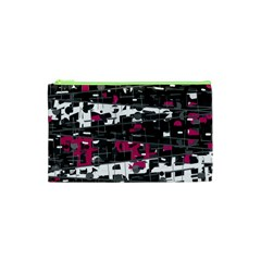 Magenta, White And Gray Decor Cosmetic Bag (xs)