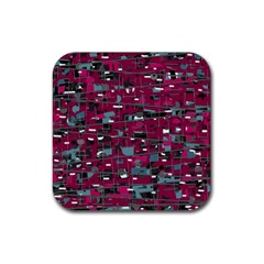 Magenta Decorative Design Rubber Coaster (square)  by Valentinaart