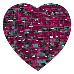 Magenta Decorative Design Jigsaw Puzzle (heart) by Valentinaart
