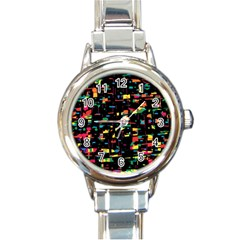 Playful Colorful Design Round Italian Charm Watch by Valentinaart