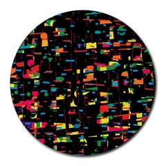 Playful Colorful Design Round Mousepads by Valentinaart