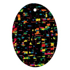 Playful Colorful Design Ornament (oval)  by Valentinaart