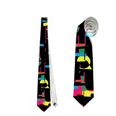 Playful Colorful Design Neckties (one Side)  by Valentinaart