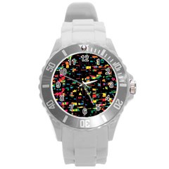Playful Colorful Design Round Plastic Sport Watch (l)