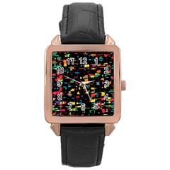 Playful Colorful Design Rose Gold Leather Watch  by Valentinaart
