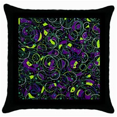 Purple And Yellow Decor Throw Pillow Case (black) by Valentinaart