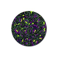 Purple And Yellow Decor Magnet 3  (round) by Valentinaart
