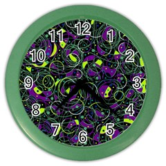 Purple And Yellow Decor Color Wall Clocks by Valentinaart