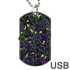 Purple And Yellow Decor Dog Tag Usb Flash (two Sides)  by Valentinaart