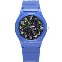 Purple And Yellow Decor Round Plastic Sport Watch (s) by Valentinaart