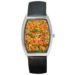 Helenium Flowers And Bees Barrel Style Metal Watch by GiftsbyNature