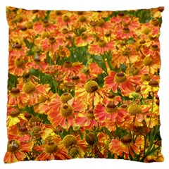 Helenium Flowers And Bees Large Cushion Case (two Sides) by GiftsbyNature
