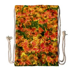 Helenium Flowers And Bees Drawstring Bag (large) by GiftsbyNature