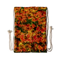 Helenium Flowers And Bees Drawstring Bag (small) by GiftsbyNature
