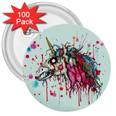Zombie Unicorn 3  Buttons (100 Pack)  by lvbart