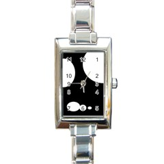 Black And White Moonlight Rectangle Italian Charm Watch by Valentinaart