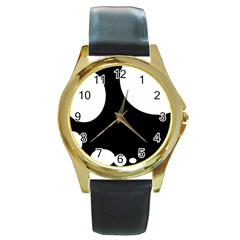 Black And White Moonlight Round Gold Metal Watch by Valentinaart