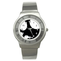 Black And White Moonlight Stainless Steel Watch by Valentinaart