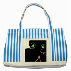 Big Cat Striped Blue Tote Bag by Valentinaart