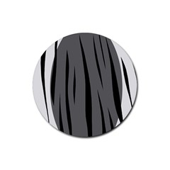 Gray, Black And White Design Rubber Coaster (round)  by Valentinaart