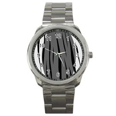 Gray, Black And White Design Sport Metal Watch by Valentinaart