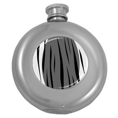 Gray, Black And White Design Round Hip Flask (5 Oz) by Valentinaart