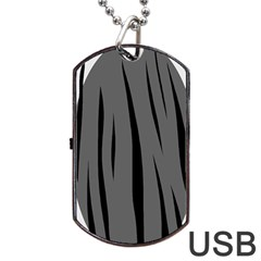 Gray, Black And White Design Dog Tag Usb Flash (one Side) by Valentinaart