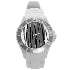 Gray, Black And White Design Round Plastic Sport Watch (l)