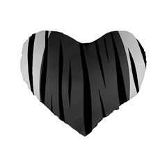 Gray, Black And White Design Standard 16  Premium Heart Shape Cushions by Valentinaart