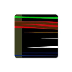 Colorful Lines  Square Magnet by Valentinaart