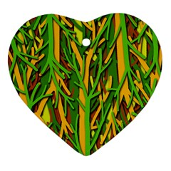 Upside Down Forest Heart Ornament (2 Sides) by Valentinaart