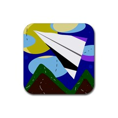 Paper Airplane Rubber Square Coaster (4 Pack)  by Valentinaart