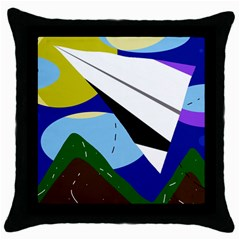 Paper Airplane Throw Pillow Case (black) by Valentinaart