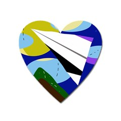 Paper Airplane Heart Magnet by Valentinaart