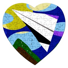 Paper Airplane Jigsaw Puzzle (heart) by Valentinaart