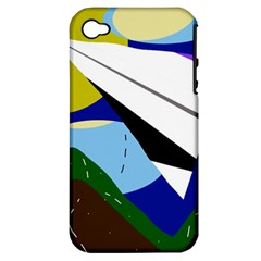 Paper Airplane Apple Iphone 4/4s Hardshell Case (pc+silicone) by Valentinaart