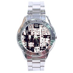 Abstract City Landscape Stainless Steel Analogue Watch