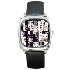 Abstract City Landscape Square Metal Watch by Valentinaart