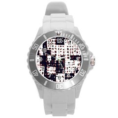 Abstract City Landscape Round Plastic Sport Watch (l) by Valentinaart