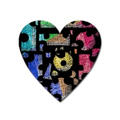 Colorful Puzzle Heart Magnet by Valentinaart