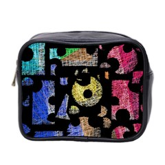 Colorful Puzzle Mini Toiletries Bag 2 Side by Valentinaart