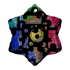 Colorful Puzzle Snowflake Ornament (2 Side) by Valentinaart