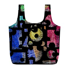 Colorful Puzzle Full Print Recycle Bags (l)  by Valentinaart