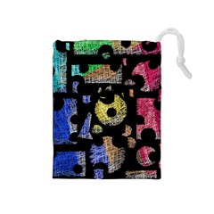 Colorful Puzzle Drawstring Pouches (medium)  by Valentinaart
