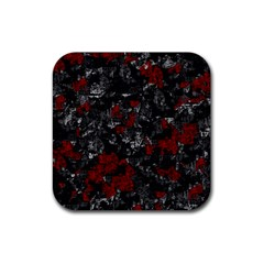 Gray And Red Decorative Art Rubber Square Coaster (4 Pack)  by Valentinaart