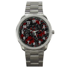 Gray And Red Decorative Art Sport Metal Watch by Valentinaart