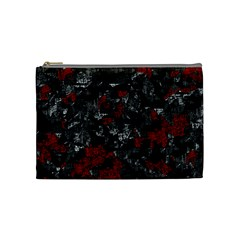 Gray And Red Decorative Art Cosmetic Bag (medium)  by Valentinaart
