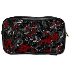 Gray And Red Decorative Art Toiletries Bags by Valentinaart