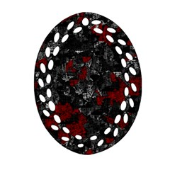 Gray And Red Decorative Art Ornament (oval Filigree)  by Valentinaart